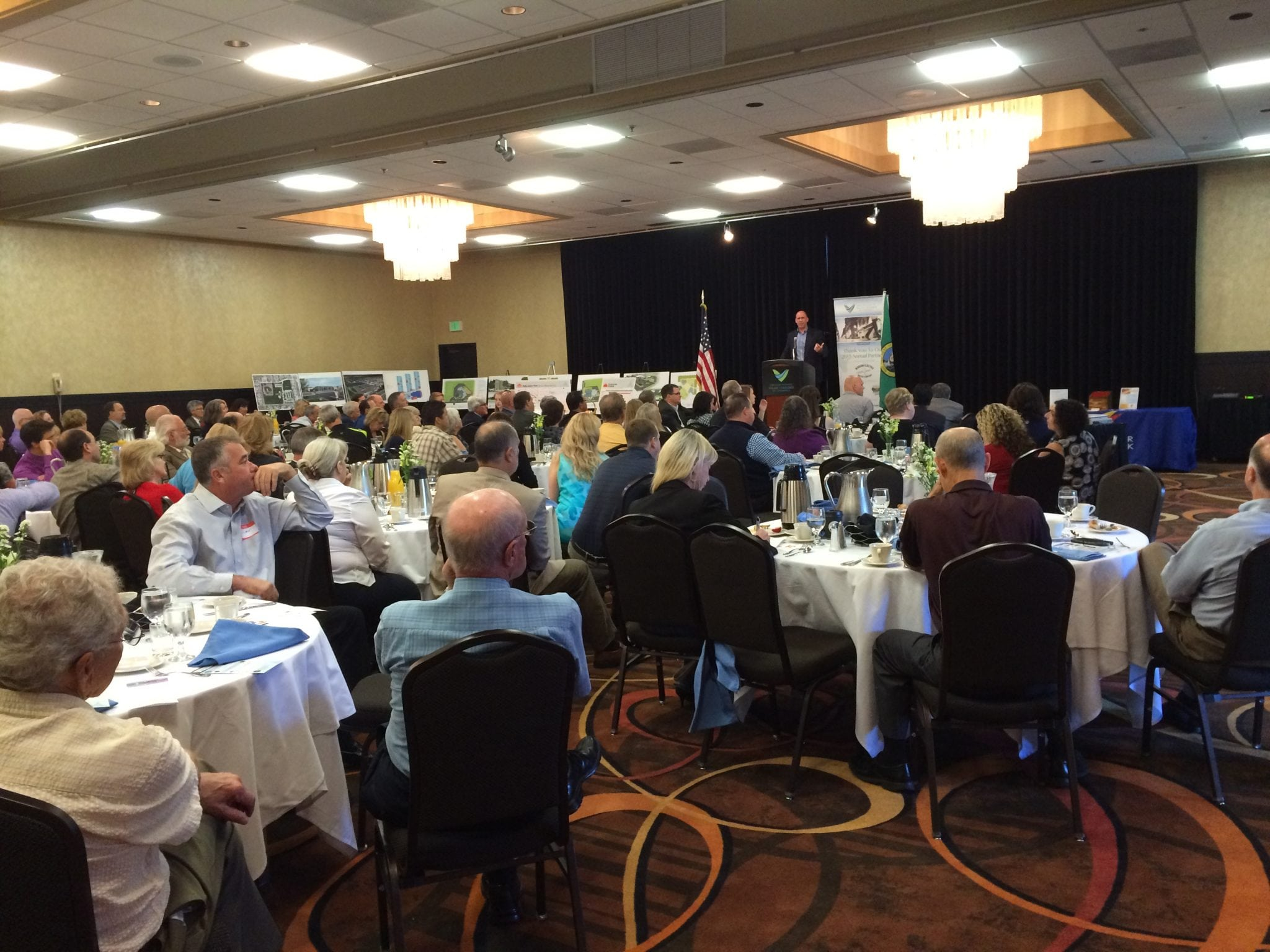 Attendees at Business Connections Breakfast hear from John Dickson, COO of Spokane County.